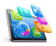 Marque en la tableta la PC con los iconos de la aplicación y el gráfico de sectores Imagen de archivo