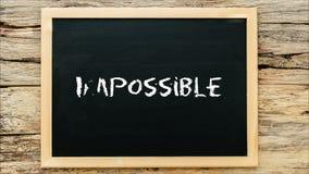 Marque la escritura, la palabra imposible y la supresión con tiza del ` del ` im para hacerlo posible en la pizarra 3d que rinde  ilustración del vector