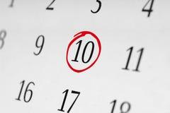 Marque la fecha número 10, Fotografía de archivo libre de regalías