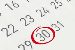 Marque la fecha número 30 Fotografía de archivo libre de regalías