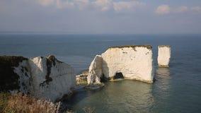 Marque las formaciones de roca con tiza de la pila viejo Harry Rocks Isle de Purbeck en Dorset Inglaterra meridional Reino Unido metrajes