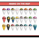 Marque o cartão sob a forma de Pokemon Fotografia de Stock