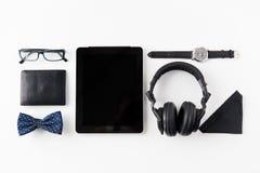 Marque o PC, fones de ouvido com material pessoal do moderno Imagem de Stock