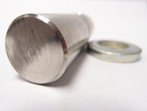 Marque rayée sur la tige d'acier inoxydable Photo stock