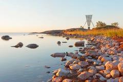 Marque/seamark et îlots nautiques de navigation dans l'archipel Photos stock