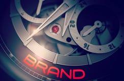 Marque sur le mécanisme de luxe de montre-bracelet d'hommes 3d Photos stock