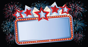 Marquee. Movie Marquee with Fireworks- eps available Stock Photography