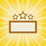 Marquee. Banner with stars on sunburst background Stock Photography
