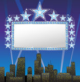 Marquee banner. With the cityscape background Stock Photos