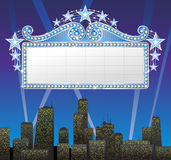 Marquee banner. With the cityscape background Royalty Free Stock Photography
