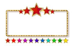 Marquee banner with stars. And realistic gold texture, EPS 10, vector illustration Royalty Free Stock Photography