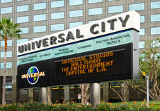 Marquee Board for Universal City Theme Park. Los Angeles, USA - January 15,2012: The marquee and reader board welcomes tourists from around the world and locals Stock Photos