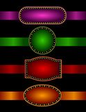 Marquee border with ribbons. Elegant Glowing Retro Theater Marquee border / frame with shiny ribbons Stock Photo
