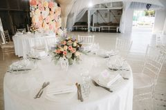 Marquee for the celebration of the wedding. Beautiful white interior stock images