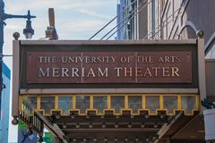 The marquee of the famous Merriam Theater. Philadelphia, Pennsylvania - February 5, 2019: The marquee of the famous Merriam Theater located on Broad Street in stock photography