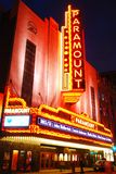 Paramount Theater, Boston. The marquee of the Historic Paramount Theater in Boston glows at night stock photo