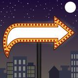 Marquee lights arrow billboard. Vector illustration of marquee lights arrow billboard at night on urban background Royalty Free Stock Photos