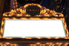 Marquee Lights Blank Sign. On Broadway Theater royalty free stock images