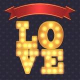 Marquee lights bulbs romantic card. Marquee lights bulbs romantic greeting card Royalty Free Stock Photo