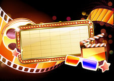 Marquee  sign. Vector illustration of retro illuminated movie marquee blank sign Stock Image
