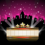 Marquee Sign in front of Cityscape. Vector illustration of an abstract background with shining marquee sign and rays of lights in front of cityscape Royalty Free Stock Photography