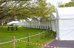 Marquees being erected as part in preparation for the annual Belfast Spring Show before the exhibitors  move in and set up their d Stock Images