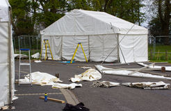 Marquees being erected as part in preparation for the annual Belfast Spring Show before the exhibitors  move in and set up their d Royalty Free Stock Photo