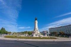 Marques de Pombal Square en Rotonde, één van de oriëntatiepunten van Lissabon royalty-vrije stock afbeeldingen