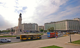Marques de Pombal Square in Lissabon, Portugal Stockbilder