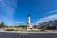Marques de Pombal Square and Roundabout, one of the landmarks of Lisbon. Located  between the luxurious Liberdade Avenue and Eduardo VII Park Royalty Free Stock Images