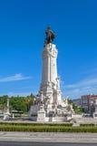 Marques de Pombal Square y monumento en Lisboa Imagen de archivo libre de regalías