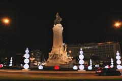 Marques de Pombal-vierkant, de belangrijkste rotonde in Lissabon stock foto