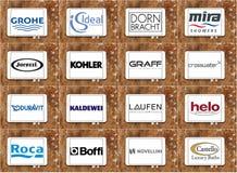 Marques et logos célèbres supérieurs d'appareils de salle de bains Photographie stock