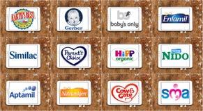 Marques et logos secs populaires supérieurs de producteurs de lait de formule illustration libre de droits
