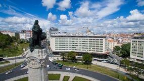 Marques Pombal i Avenida da Liberdade Lisbon widok z lotu ptaka mogą 2016 Obrazy Royalty Free
