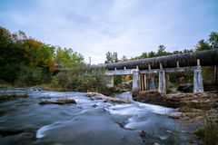 Marquette Autumn Gritty Waterfall Landscape Stock Image