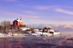 Marquette Harbor Lighthouse On Lake-Meerdere, het Hogere Schiereiland van Michigan Stock Fotografie