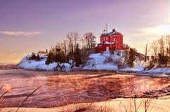 Marquette Harbor Lighthouse On Lake-Meerdere, het Hogere Schiereiland van Michigan Royalty-vrije Stock Foto's
