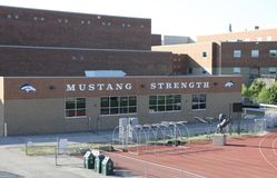 Marquette High School Track, Chesterfield, Missouri. Marquette High School, located in Chesterfield, Missouri, is a secondary school in the Rockwood School Stock Photo