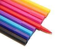 Marqueur coloré à l'arrière-plan blanc Photos libres de droits