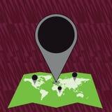 Marqueur énorme coloré Pin Pointing d'emplacement à un secteur ou à une adresse sur la carte Idée créative de fond pour la livrai illustration libre de droits