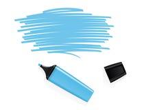 Marqueur bleu avec l'espace griffonné pour le texte Photos stock