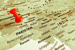 Marqueur rouge au-dessus du Pakistan Photographie stock