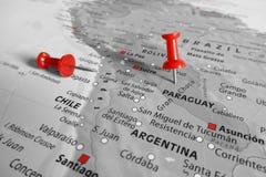 Marqueur rouge au-dessus du Paraguay Photo libre de droits