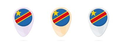 Marqueurs de carte avec le drapeau de la République démocratique du Congo, 3 versions de couleur illustration stock