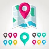 Marqueurs de carte et icône plate de carte Photo libre de droits