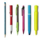 Marqueurs de crayons de stylos Image stock