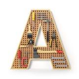 Marquez avec des lettres A Alphabet des outils sur la plaquette perforée en métal d'isolement Images libres de droits