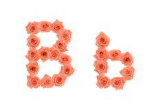 Marquez avec des lettres B, alphabet fait à partir des roses oranges Photographie stock libre de droits