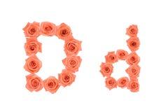 Marquez avec des lettres D, alphabet fait à partir des roses oranges Images libres de droits